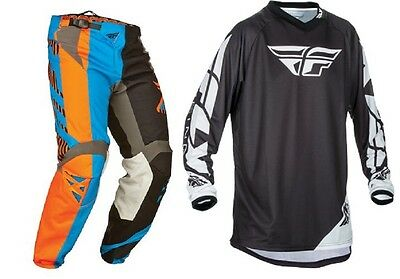 New Fly Racing Blue Orange Black Pant Jersey Combo Mx Off Road Riding Gear Set