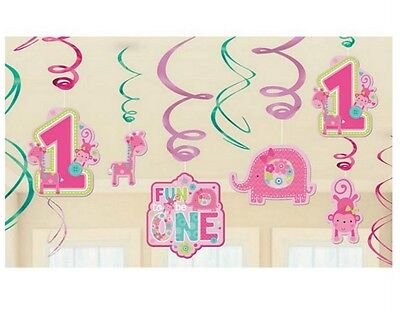 Wild at One Girl's 1st Birthday Hanging Foil Swirl Decorations (12 Pcs) - 670383 (Wild Girl)