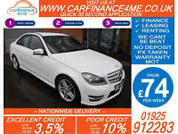 2013 MERCEDES C220 CDI AMG SPORT GOOD / BAD CREDIT CAR FINANCE FROM 74 P/WK