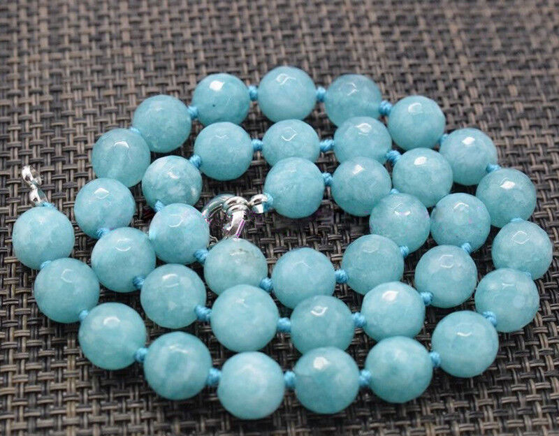 """New 2x4mm Blue Aquamarine Faceted Rondelle Gemstone Beads Necklace 18/"""""""