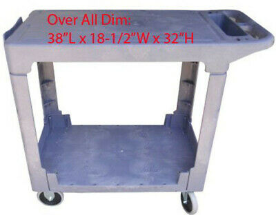 Flat Top 2 Shelves Plastic Service Utility Cart Small