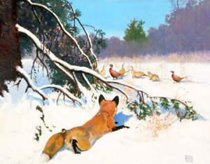 Fox watching Pheasants in Winter by Lynn Bogue Hunt