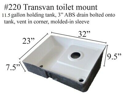 Transvan RV shower pan/toilet mount/tank Fiberglass #220 polar white 32