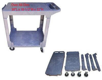 Industrial Service Utility Cart Plastic 2 Flat Shelf 38 X 18-12
