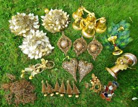 Joblot of gold Christmas decorations