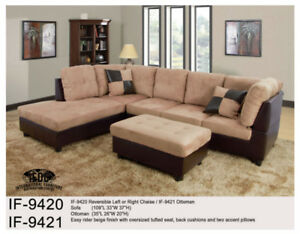 Sectional Sofa Beige IF9420 Left or Right Chaise, Brown $699