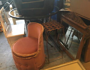 Pink dressing table chair, assorted furniture