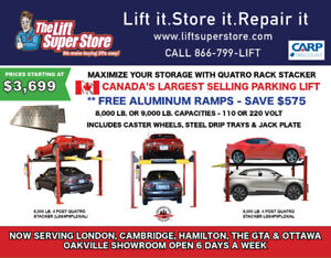 4 POST PARKING STORAGE LIFTS - 8,000 OR 9,000 LB.