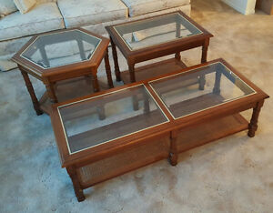 High-end quality Solid Wood/Beveled Glass Coffee/End Tables