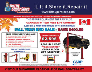 "2 Post CAR LIFTS 9,000 lb. Clear Floor ""FALL"" Year End  Sale!"