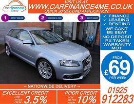 2012 AUDI A3 2.0 TFSI S-LINE GOOD / BAD CREDIT CAR FINANCE FROM 69 P/WK