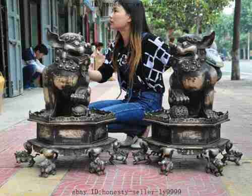 "28"" Huge Old Chinese Noble Scarce Silver Beast Foo Fu Dog Door Lion Statue Pair"
