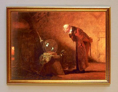 CARL SPITZWEG DER ALCHEMIST REDUKTION GOLDMACHER MEDIZIN AUF LEINWAND 17 +RAHMEN