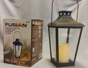 Fusion Indoor Outdoor Lantern With Flameless Candle w/ Batteries