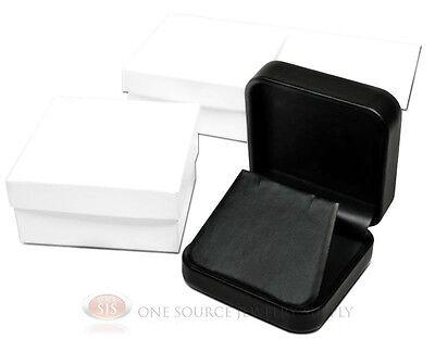 3 Piece Black Leather Earring Jewelry Gift Box 2 34 X 2 34 X 1 18
