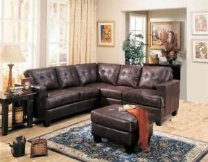 FREE SHIPPING in Montreal! Tufted Bonded Leather Corner Sectional! NEW!