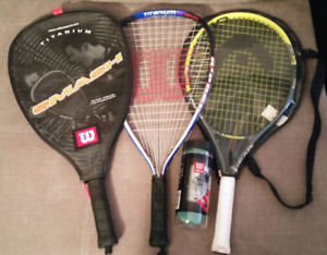 2 Wilson Titanium Racket ball rackets 1 Tennis racket.