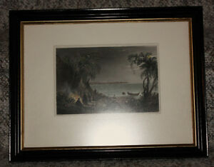 Framed original Bartlett print: The Squaw's Grave