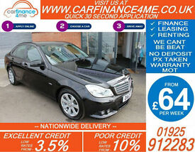 2012 MERCEDES C180 1.8 SE GOOD / BAD CREDIT CAR FINANCE FROM 64 P/WK