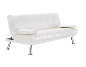 Panana Faux Leather Sofa Bed 2 to 3 Seater faux leather Cream