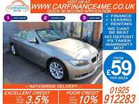 2009 BMW 320 2.0 SE CONVERTIBLE GOOD / BAD CREDIT CAR FINANCE FROM 59 P/WK