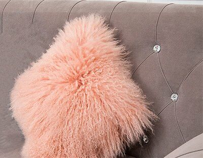 "Handmade Mongolian Fur 18""x18"" Square Pink Pillow & suede fabric back US stock"