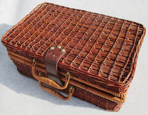 Wicker Basket Suitcase Picnic Display Item Cabin Decor