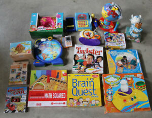 Educational toys and games-some NEW - Twister/sew machine/Globe