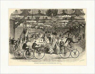 Die Übungsschule der großen Velocipede Fabrik Paris Fahrräder Holzstich E 5181