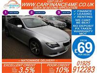 2008 BMW 635D 3.0 TD SPORT GOOD / BAD CREDIT CAR FINANCE FROM 69 P/WK