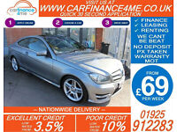 2012 MERCEDES C220 CDI AMG SPORT GOOD / BAD CREDIT CAR FINANCE FROM 69 P/WK