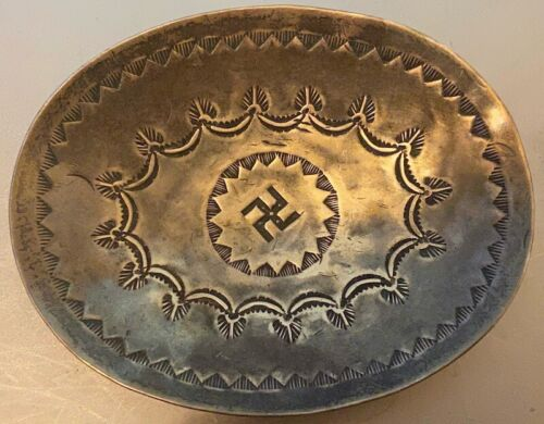Early Navajo Hand Constructed Trinket Tray Ashtray Hand Stamped Whirling Log