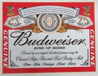 Budweiser Beer - Label Metal Sign