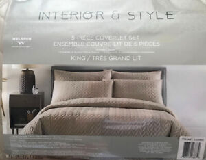 Welspun interior & style 5 piece coverlet set king size for $90