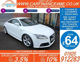 2013 AUDI TT COUPE 1.8 TFSI S-LINE GOOD / BAD CREDIT CAR FINANCE FROM 64 P/WK