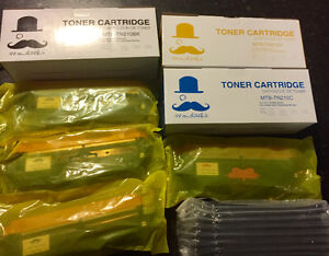 7 New Toner Cartridges Brother TN-210 Moustache®