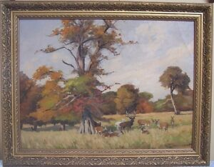 original oil by A. Danielsen of deer in field
