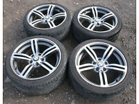 "BMW E46 E90 E87 1 / 3 series 18"" M6 Style Alloy Wheels & Tyres 330d 120d 320d 325i 330i 318i 118d"