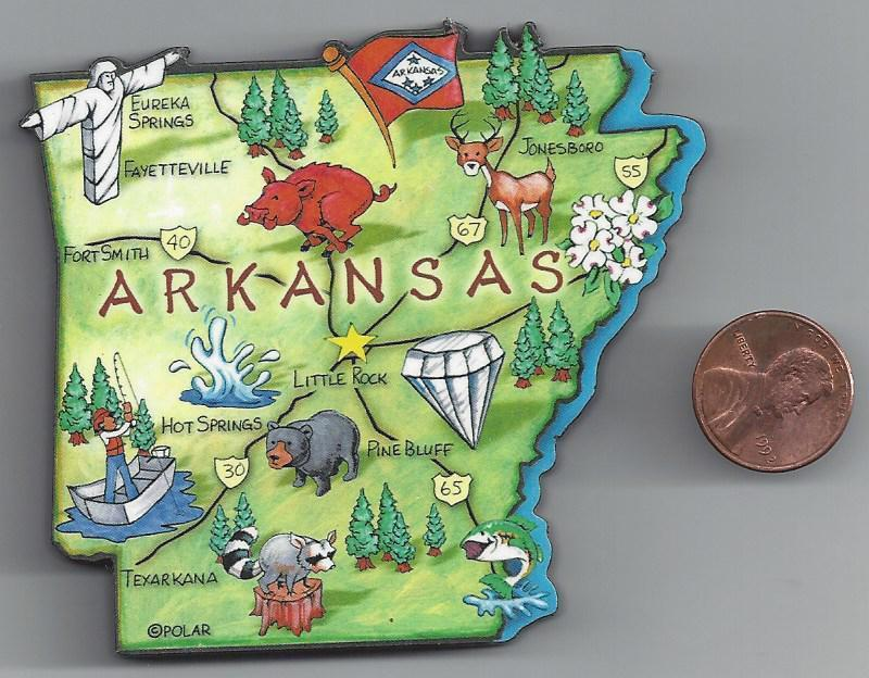 ARTWOOD  ARKANSAS AR   STATE MAP MAGNET  LITTLE ROCK  PINE BLUFF  FORT SMITH