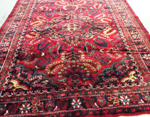 Semi-antique Persian Rug,Wool,10 x 7 ft,Handmade,red,Navy blue