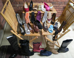 Size 10 NEW ladies over 30 pairs of shoes /sandals/boots/heels