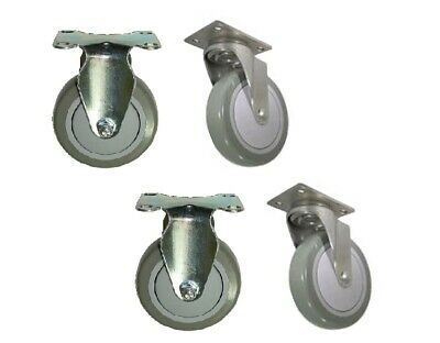 Set Of 4 Plate Casters With 5 Polyurethane Wheels 2 Swivel And 2 Rigid