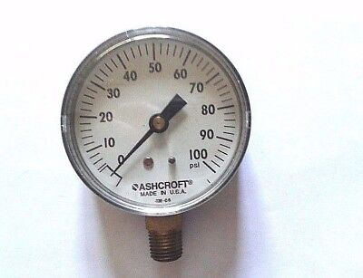 Ashcroft 2-12 Pressure Gauge 0-100 Psi Range Grainger 1x772