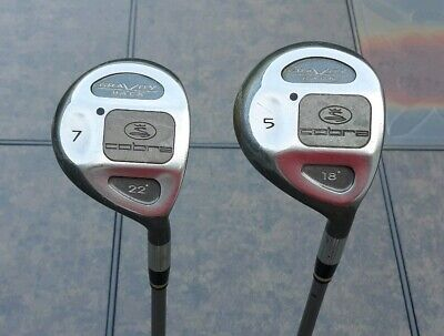 Vintage Cobra Gravity Back 5 (18°) & 7 (22°) Fairway Woods Regular Flex Graphite, used for sale  Shipping to Canada