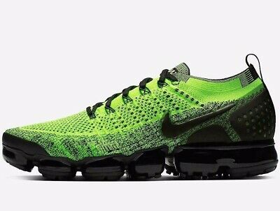 ⚫ Authentic Nike Air VAPORMAX Flyknit 2 ® ( Men UK 8.5 EUR 43 ) Neon Green Volt