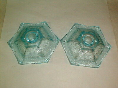 Blue Candle Holders (Candle holders ice blue glass set vintage)