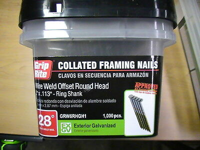 2000 2 Grip Rite Collated Nails.wire Weld Galvanized.ring Shank..round. Fence