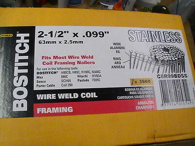 3600 2-12 X .099 Stainless Steel Bostitch Coil Nails. Ring Shank. Framing