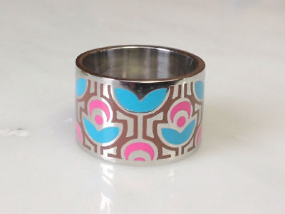- Stainless Steel Ring w/Pink & Blue Epoxy Flowers Band Size 5,6,7,8,9,10 (f573)