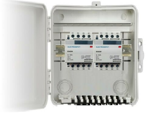 40 Amp 8 Pole N/O Lighting Contactor in Box Enclosure 120V Coil, 30A, 40A, 50A